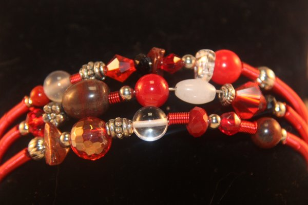 Red Memory wire coil bracelet