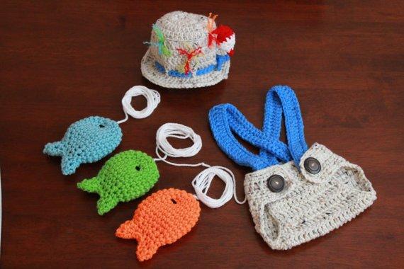 Crochet Pattern Baby Fishing Hat : Crocheted handmade Fishing Fisherman Baby 2 piece Baby ...