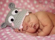 Crocheted Handmade Hippo 2 Piece set for baby