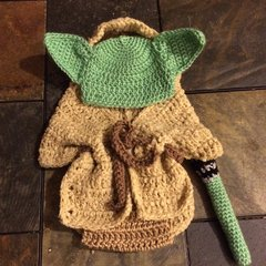 Crocheted Handmade Yoda 4 Piece Baby Sets