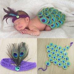 Crocheted Handmade Peacock 2 piece baby set