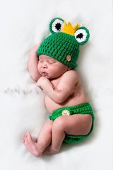 Crocheted handmade Frog Prince 2 Piece set for baby