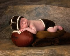 Crocheted Handmade Football 2 Piece Baby Set