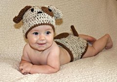 Crocheted Handmade Puppy 2 Piece Set for Baby