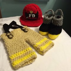 Crocheted Handmade Fireman 3 Piece Baby Sets