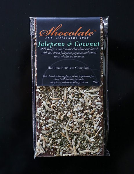 Milk Couverture Chocolate with Jalapeno & Coconut