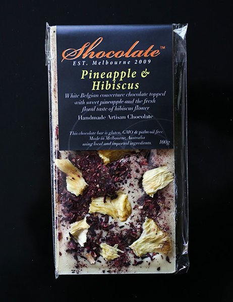 White Couverture Chocolate with Hibiscus & Pineapple