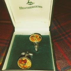 Cuff Links - Scottish Heathergem Set in Pewter - Charles Buyers & Company, Scotland