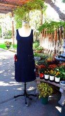 Denim Garden Dress: Lily Print denim & Solid Indigo denim