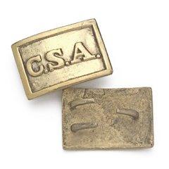 Civil War Brass C.S.A. Rectangular Belt Buckle
