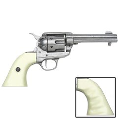 Old West Replica 1873 Antique Finish Quick Draw Revolver, Ivory Finger Grooved Grips Caps Firing Replica