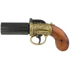 1840 British Pepperbox Revolver - Brass