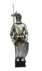 "Handcrafted 18"" Medieval English French Knight In Full Plate Suit of Armor, Pig Face Helmet Metal Statue"