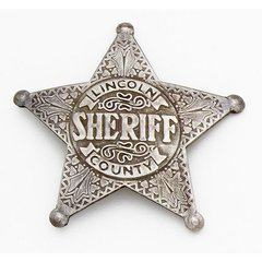 Old West Lincoln County Sheriff's Badge by Denix - Antique Silver Finish