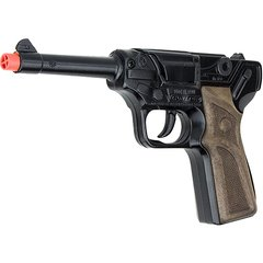 German Luger Pistol 8 Shot Die-Cast Cap Gun - Black Finish by Gonher