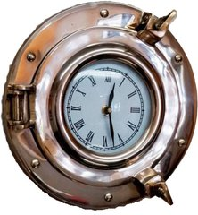 "Nautical 9"" Brass Porthole Wall Clock"