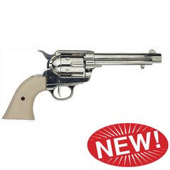 Old West Frontier Replica Nickel Finish, Ivory Grips Revolver Non-Firing Gun