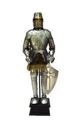 "Handcrafted 18"" Medieval Germanic Christian Knight In Full Plate Armor with Great Helm & Sword Statue (Circa. 1420)"
