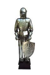 "Handcrafted Miniature 18"" Medieval Italian or French Knight In Full Plate Armor with Pig Faced Bascinet Helmet and War Axe (Circa. 1430)"