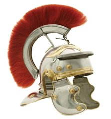 Deluxe Replica Roman Centurion Steel Helmet with Real Horse Hair Plume