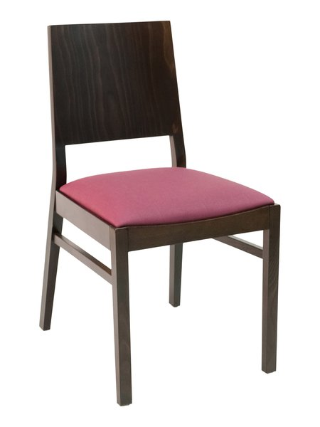 15. Wood Back Upholstered Padded Seat Restaurant Dining Chair