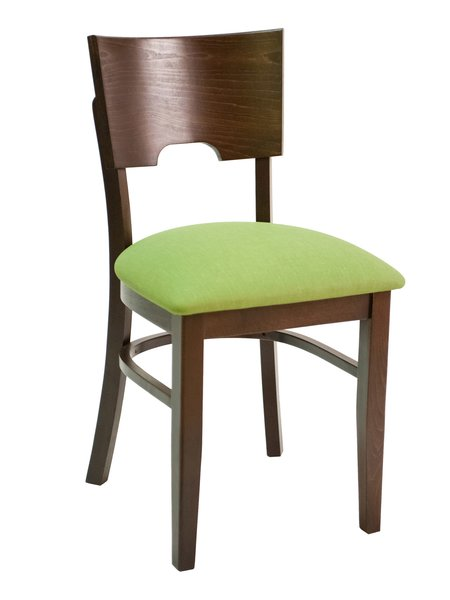 13. Wood Curved Wood Back Upholstered Padded Seat Restaurant Dining Chair