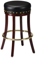 Backless Wood Swivel Bar Stool Padded Seat Type B