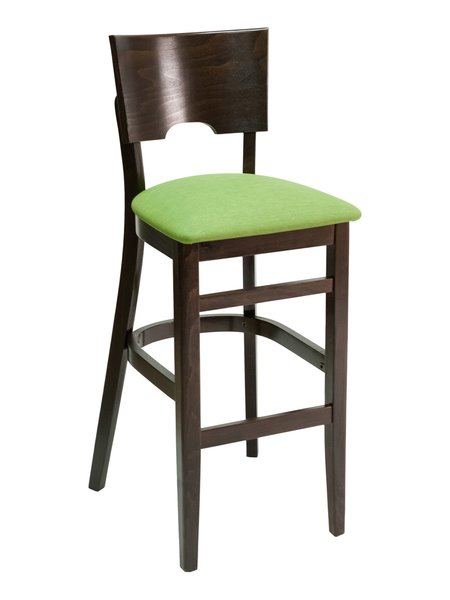 12. Wood Curved Wood Back Upholstered Padded Seat Restaurant Dining Bar Stool