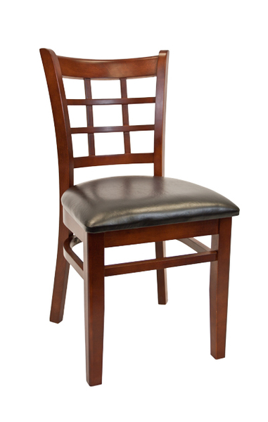 14. Wood Window Pane Back Restaurant Dining Chair Dark Mahogany Finish