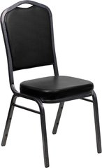 Metal Banquet Stack Chair Silvervein Frame Finish Black Vinyl Seat and Back