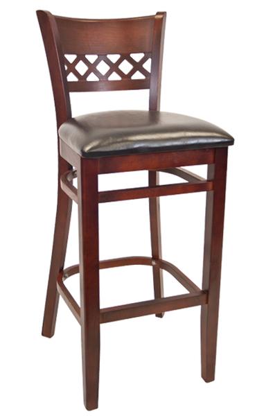 07. Wood Leonardo Back Restaurant Bar Stool Dark Mahogany Finish Black Vinyl Padded Seat