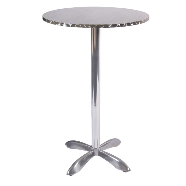"Outdoor Restaurant Cafe Stainless Steel Table Top with Chrome Base 28"" Round Bar Height"