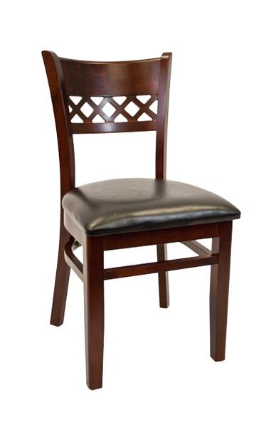 08. Wood Leonardo Back Restaurant Dining Chair Dark Mahogany Finish Black Vinyl Padded Seat