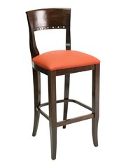 11. Wood Biedermeier Back Upholstered Padded Seat Restaurant Dining Bar Stool