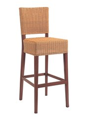 Outdoor Restaurant Cafe Bar Stool Hand Painted Wood Finish Woven Seat and Back