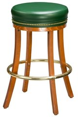 Backless Wood Swivel Bar Stool Padded Seat Type C