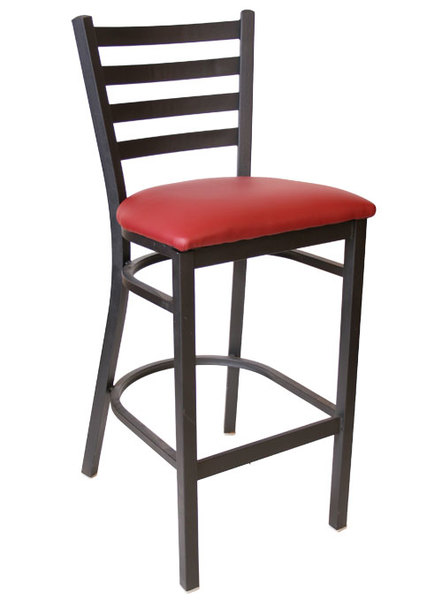 Metal Ladderback Restaurant Dining Bar Stool Black Frame Finish Black Vinyl Seat