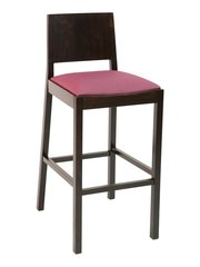 Wood Back Upholstered Padded Seat Restaurant Dining Bar Stool