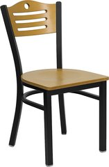 Tri-Slat Circle Restaurant Chair Back Metal Frame Natural Seat and Back