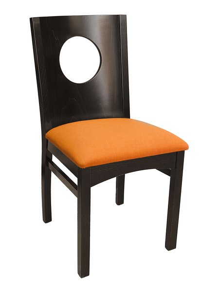 17. Wood Portal Back Upholstered Padded Seat Restaurant Dining Chair