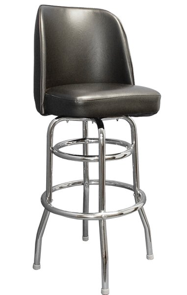 Swivel Bar Stool Retro Double Ring Chrome Frame Bucket