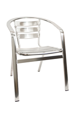 Outdoor Restaurant Cafe Arm Chair Aluminum Finish Stackable