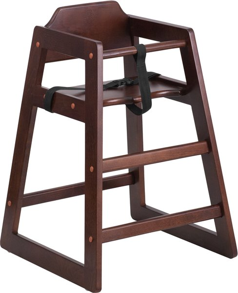 98. Wood Restaurant Stackable High-Chair Walnut Finish