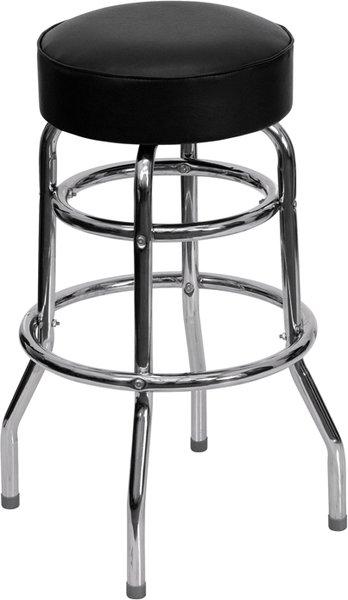 Premium Comfort Swivel Bar Stool Retro Chrome Double Ring Frame Black Vinyl Round Seat
