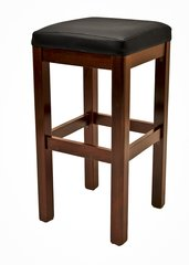 Quick-Ship Backless Wood Bar Stool Square Vinyl Padded Seat