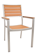 Outdoor Restaurant Cafe Arm Chair Teak Finish Stackable