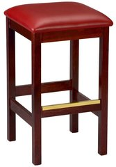 Backless Wood Bar Stool Square Vinyl Padded Seat
