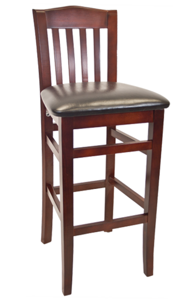 09. Wood Bulldog Back Restaurant Bar Stool