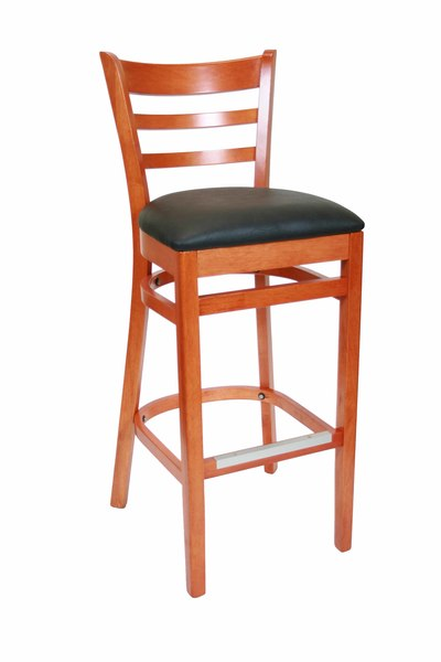 01. Wood Ladderback Restaurant Dining Bar Stool