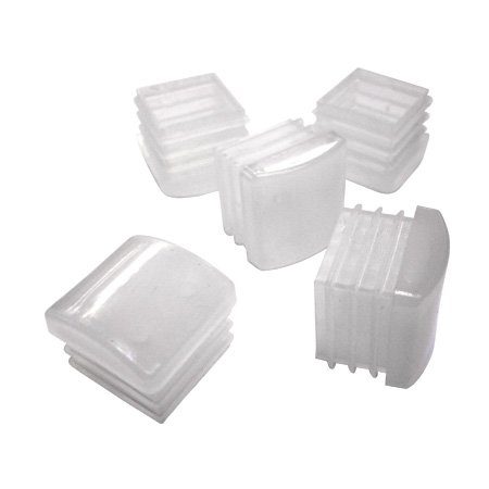 Glides for Metal Chairs White Plastic 1 Inch Square